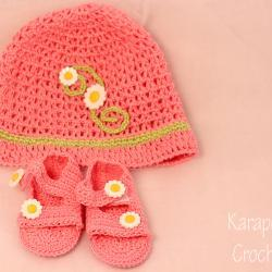 Crochet Baby Hat and sandals set/0-3months/Photo prop/newborn